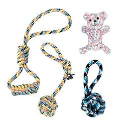 Dog Chew Toys Ropes, Rockjame 4-pack Dog Toys Cotton Rope Ch