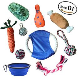 Dog Chew Toys Set 10 Pack - Pet Chewing Bite Rope Rubber Int