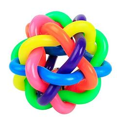 Luck Dawn Dog Chewing Rubber Ball With Bell Braided Rainbow