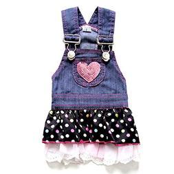SELMAI Dog Dress Princess Denim Pleated Tiered Outfits Skirt
