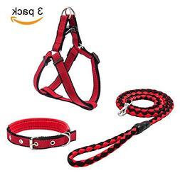 Beker Dog Leash Harness Collar Set,Durable Nylon Braided Lea