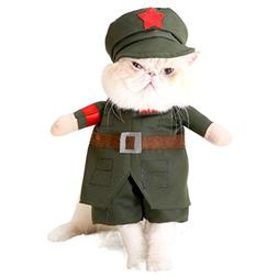 SMALLLEE_LUCKY_STORE Small Dog Soldier Costume with Hat Mili