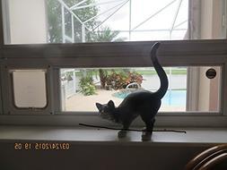Cat American Toy glass window with pet door, white vinyl, 28