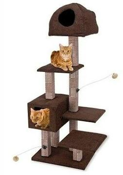 Penn Plax Dual Hide-Away & Lounge Tower with Bamboo Rubbing