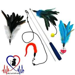Pet Fit For Life 4 Piece Dual Rod Feather Teaser and Exercis