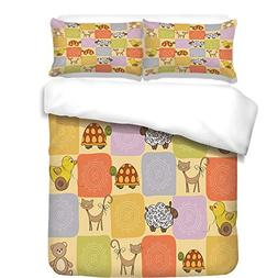 iPrint Duvet Cover Set,Nursery,Toys and Animals in a Checker