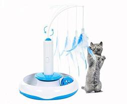 Kathson Electric Cat Toys Rotate Interactive Cat Feather Toy