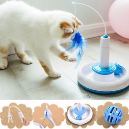 Electric Rotate Interactive Cat Feather Toys Teaser Motion K