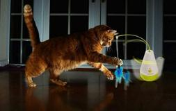 electric tumbler cat toy feather spinning teaser