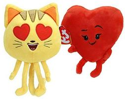 Emoji Movie Beanie Babies Gift Pack Bundle Heart Eyes Cat an