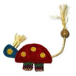 Eco-Loofah Ethnic Maka Tenuki Queen Turtle Cat Toy, Red