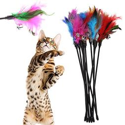 Iainstars Exerciser Interactive Cat Wand, Refills Feathers F