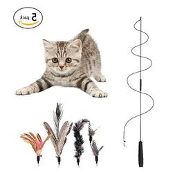 Yunt Feather Cat Teaser with Bell Funny Interactive Cat Stic