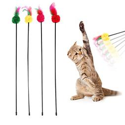 TTnight Feather Cat Toy, Rod Pets Toy Fashion Cat Play Feath