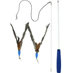 3 Pack Feather Refills for Interactive Cat Feather Wand By D