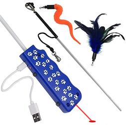 Pet Fit For Life Feather/Squiggly Worm Cat Wand and Light Ch