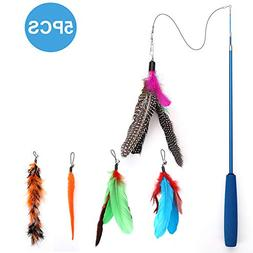 Becory Feather Teaser Cat Toy, Retractable Cat Feather Toy W