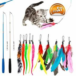 Feather Teaser Cat Toy, 12PCS Retractable Cat Wand Toys * Fr