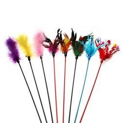 Chiwava 8 Pieces 18.7 inch Feather Teaser Cat Toy Wand Multi