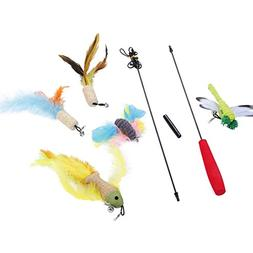 8 Pieces Feather Wand Cat Toy Set for Cats and Kittens, Inte