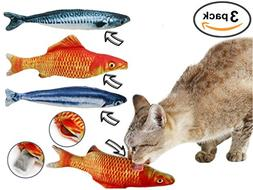 Fish Cat / Kitten Toys – 3 Large Refillable Realistic Toy