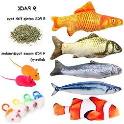 Fish Cat Toys, Interactive Catnip Emulational Fish Toy 5 Pac