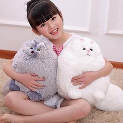 Winsterch Kids Fluffy Stuffed Cat Toy Plush Cat Animal Toy f