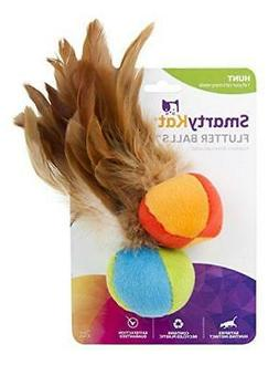SmartyKat Flutter Ball Cat Toy Feather Ball 2 Pack