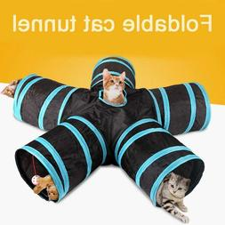 Foldable 5 Holes Pets Cat Tunnel Toys Animals Training Play