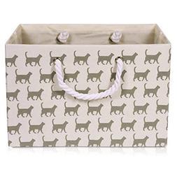 Foldable White Canvas Storage Basket Rectangle Fabric Basket