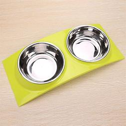 Food Dish Water Feeder Pet Cat Puppy Dog Bowel Stainless Ste