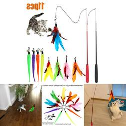 Fun Cat Feather Toy Retractable Cat Toys Wand 2 Wands & 9 As