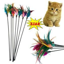 Fun Kitten Toy Cat Feather Bell Wand Teaser Rod Bead Ball Pl