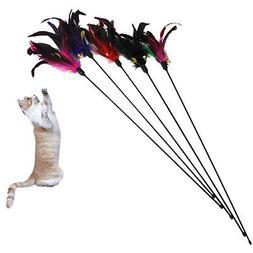fun kitten toy cat feather bell wand