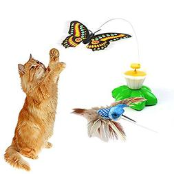 Dshengoo 2 Pack Funny Butterfly Toy Bird Toy for Cats Toys,P