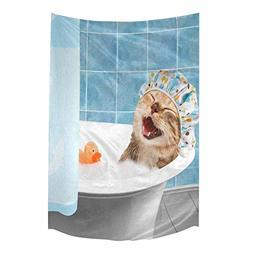 InterestPrint Funny Cat Kitty ITaking A Bath with Toy Duck T
