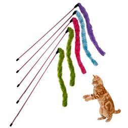 PyLios 5Pcs Funny Cat Toys Plush Sticks Pet Dog Cat Teaser W