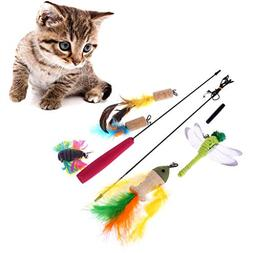 Cencity Funny Interactive Cat Teaser Wands Toy Pet Feather P