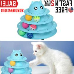 Funny Interactive Pet Cat Toys Crazy Ball Disk 3 Tier Tower