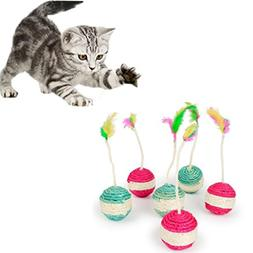 Yuelove Funny pet cat kitten round toy rolling sisal scratch