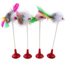 Stock Show 4Pcs 20cm Funny Pet Feather False Mouse Bottom Su