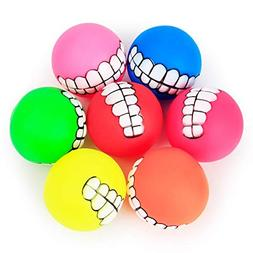 Funny Pets Dog Puppy Cat Ball Teeth Toy PVC Chew Sound Dogs