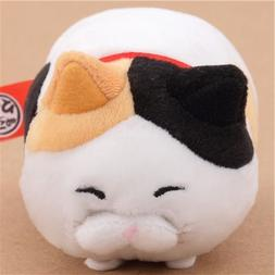 Small funny white black peach cat red collar Hige Manjyu plu