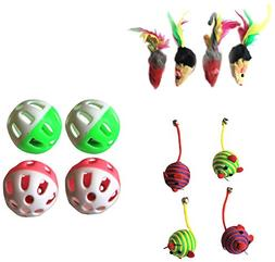 Iconic Pet Fur Mice Nylon Rope Ball and Plastic Ball Cat Toy