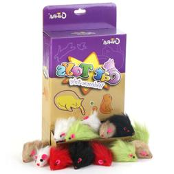 "Chiwava 36PCS 5.1"" Fur Mice Rattle Cat Toys Furry Mouse Chas"