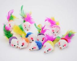 Famgee 20 PCS Furry Cat Toys Squeak Mouse Rattle Mice Cat Ca