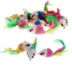 Keklle Furry Mice Toys of Feather Tails, Mouse Toys For Cats