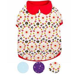 Blueberry Pet Garden Flower Peter Pan Collar Cotton Dog Shir