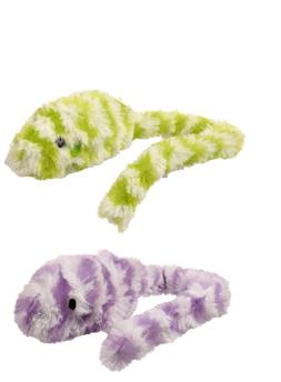 "GKC Plush Furry Mouse Cat Toy w Rattle Long Tail 15"" Green P"