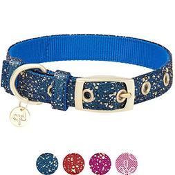 Blueberry Pet Glam Life Gold Stamping Lace Dog Collar in Cla